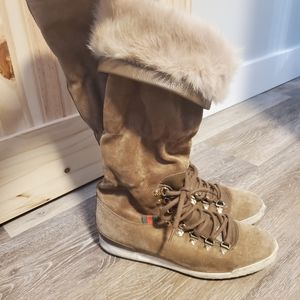 ** GUCCI **suede & genuine fur lining